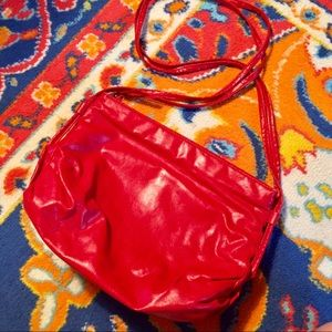 Hot! Retro/Vintage Shiny Red Faux Leather Bag